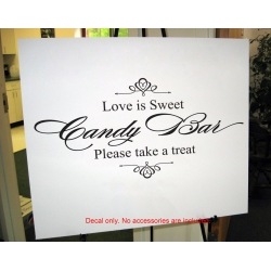 Wedding Candy Bar Sign Decal Love is Sweet Wall Mirror Decal Sticker Removable