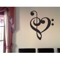 Music Heart Beat Love Treble Bass Clef Removable Wall Tattoo Sticker Decal