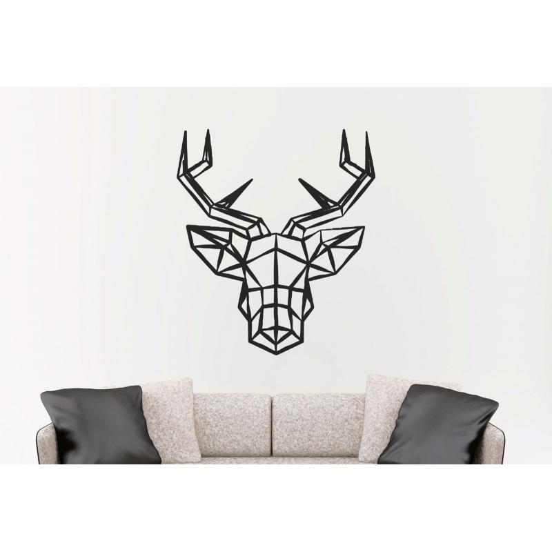 geometric deer head wall sticker vinyl decal removable antler