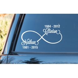 RIP Infinity Love Custom Names Dates Outdoor Car Bike Sticker Decal Tattoo