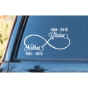 RIP Infinity Love Custom Names Dates Outdoor Car Bike Sticker Decal Tattoo