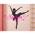 Ballerina Ballet Custom Name Wall Sticker Personalized Decal Gift for Girl