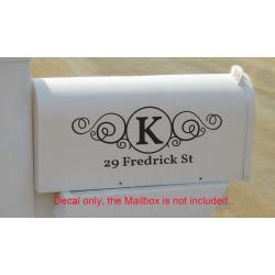 Custom Swirly Monogram Mailbox Sticker Vinyl Decal