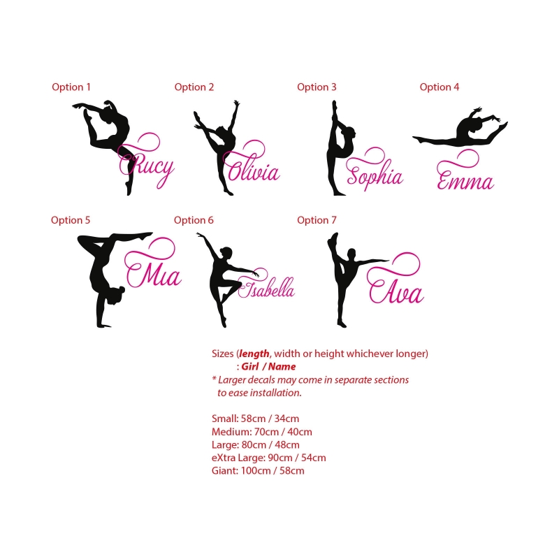 Gymnastics girl custom name wall sticker personalized decal gymnast