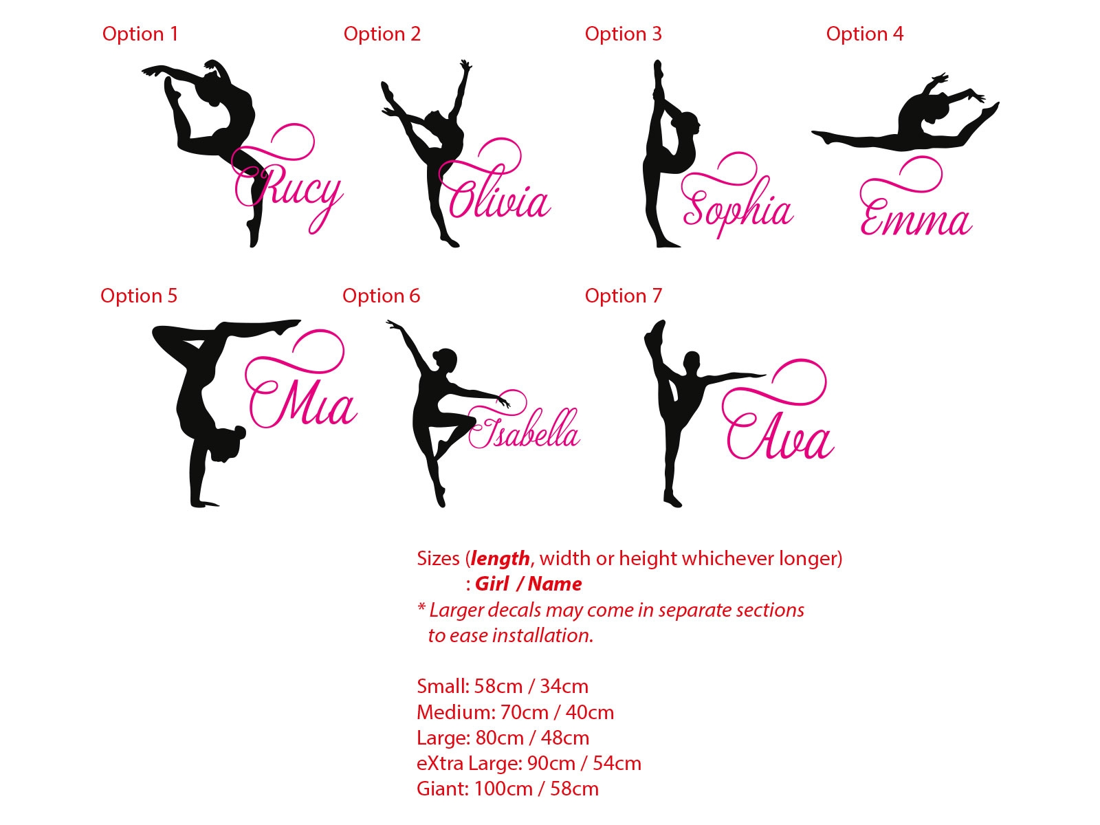 Gymnastics Girl Custom Name Wall Sticker Personalized Decal Gymnast