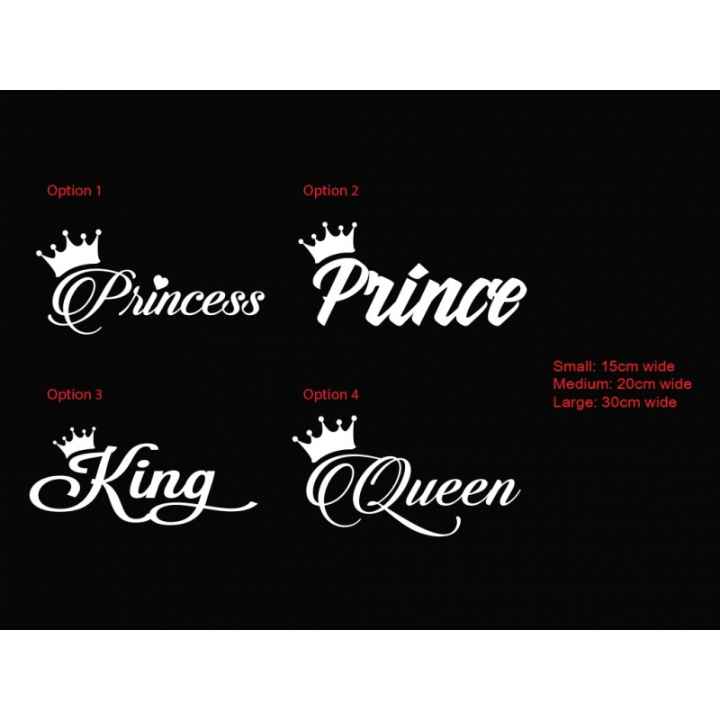 Princess prince king queen crown car sticker decal