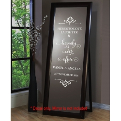 Wedding Sign Decal Sticker Removable Here's to Love Laughter Happily Ever After