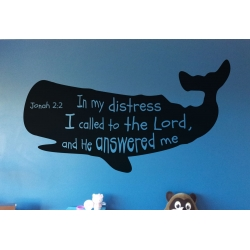 Jonah 2:2 In my distress,I called Lord Whale Bible Verse Wall Nursery Decal Sticker