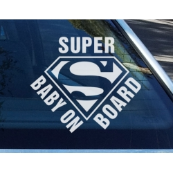 Super baby on board Superman Funny Baby on Board Sign Sticker Car Decal