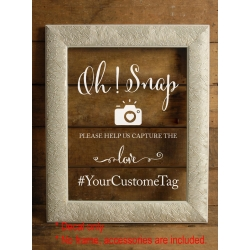 Oh Snap! Capture the love Custom Wedding Hashtag Sign Sticker Decal Wall Mirror