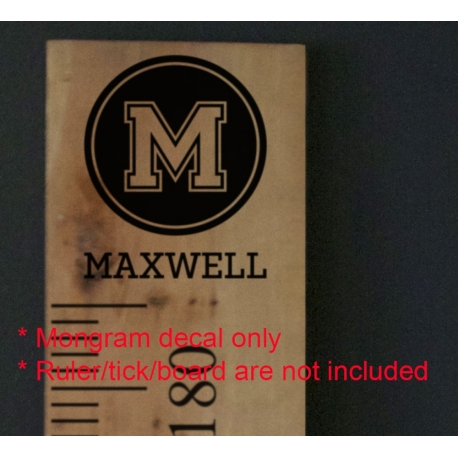 Custom Monogram Ruler Height Chart Add-on or Wall Vinyl Decal Sticker