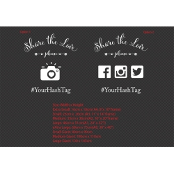 Share the love please Custom Wedding Hashtag Sign Sticker Decal for Wall Mirror