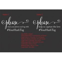 Custom Please Share the Photo w/ Hashtag Wedding Sign Sticker Decal Wall Mirror