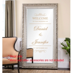Welcome to the Wedding Custom Personalized Couple Sign Wall Mirror Glass Decal Sticker Removable