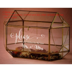 Please Leave your wishes to the New Mr. & Mrs. Wedding Wishing Well Sign Sticker Decal Mirror