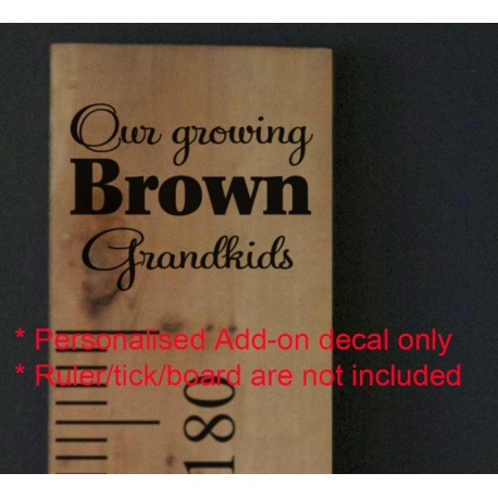 Custom Our Growing Grandkids Add-On Sticker Growth Chart Ruler Head Vinyl Decal