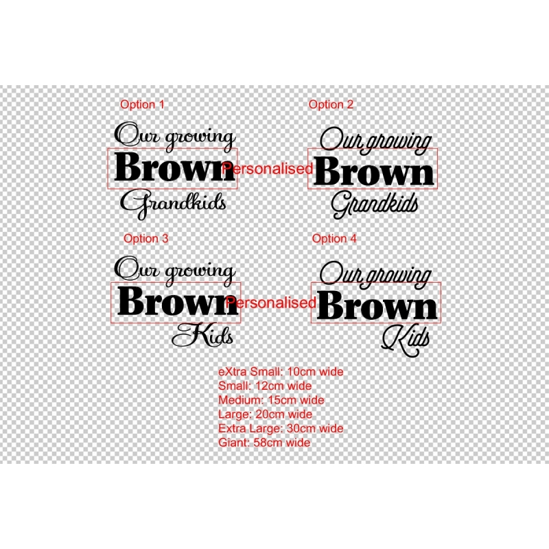 Custom our growing grandkids add on sticker growth chart ruler head vinyl decal