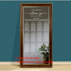 Custom Wedding Table Seating Chart Plan Sticker Vinyl Decal Sign Removable