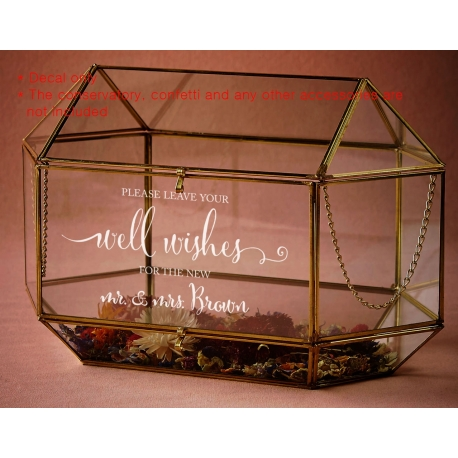 Custom Please Leave your wishes to the New Mr. & Mrs.Wedding Wishing Well Decal