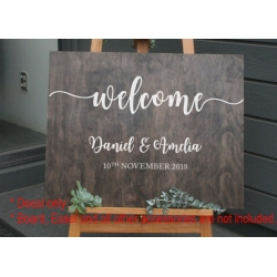 Custom Wedding Engagement Anniversary Welcome Sign Sticker Decal Party Removable