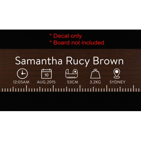 DIY Birth Ruler Vinyl Decal With Birth Stat Icons Baby Shower Gift