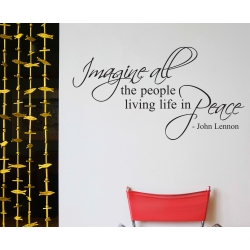 Imagine all the people living life in peace John Lennon Wall Decal Sticker